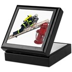 Fireman on Ladder on Fire Hydrant Keepsake Box