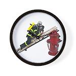 Fireman on Ladder on Fire Hydrant Wall Clock