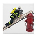 Fireman on Ladder on Fire Hydrant Tile Coaster