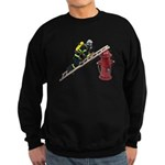 Fireman on Ladder on Fire Hydrant Sweatshirt (dark