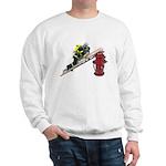 Fireman on Ladder on Fire Hydrant Sweatshirt