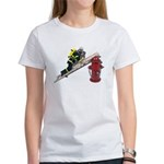 Fireman on Ladder on Fire Hydrant Women's T-Shirt