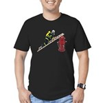 Fireman on Ladder on Fire Hydrant Men's Fitted T-S