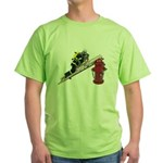 Fireman on Ladder on Fire Hydrant Green T-Shirt
