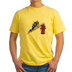 Fireman on Ladder on Fire Hydrant Yellow T-Shirt