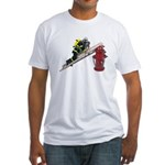 Fireman on Ladder on Fire Hydrant Fitted T-Shirt