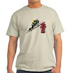 Fireman on Ladder on Fire Hydrant Light T-Shirt