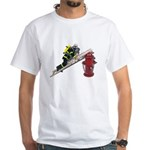 Fireman on Ladder on Fire Hydrant White T-Shirt