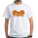 Halloween Pumpkin Randon White T-Shirt