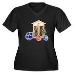 House Afloat Women's Plus Size V-Neck Dark T-Shirt
