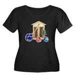 House Afloat Women's Plus Size Scoop Neck Dark T-S