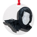 Lacey Black Scarf Round Ornament