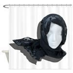Lacey Black Scarf Shower Curtain
