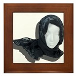 Lacey Black Scarf Framed Tile