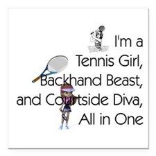 "TOP Tennis Court Diva Square Car Magnet 3"" x 3"""