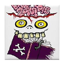 Book Zombie Tile Coaster