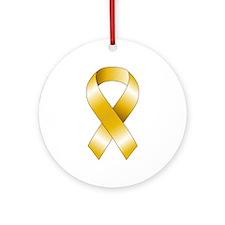 Gold Ribbon Ornament (Round)