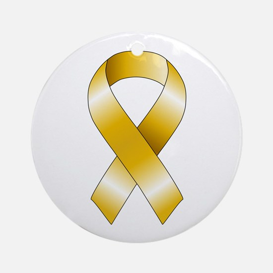 Gold Ribbon Ornament (Round)