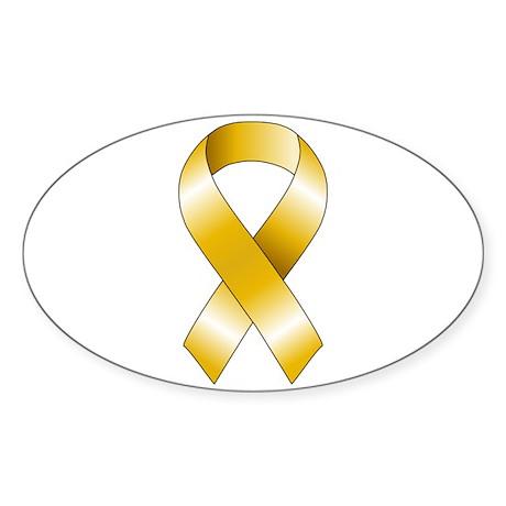 Gold Ribbon Sticker (Oval)