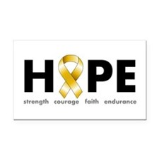 Gold Ribbon Hope Rectangle Car Magnet