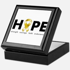 Gold Ribbon Hope Keepsake Box