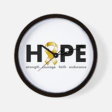 Gold Ribbon Hope Wall Clock