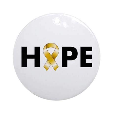 Gold Ribbon Hope Ornament (Round)