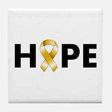 Gold Ribbon Hope Tile Coaster