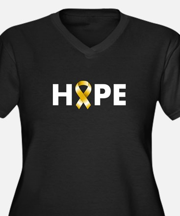 Gold Ribbon Hope Women's Plus Size V-Neck Dark T-S