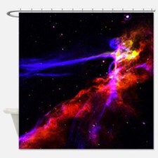 Red and Blue Nebula Shower Curtain
