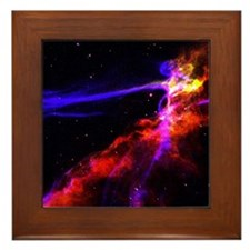 Red and Blue Nebula Framed Tile