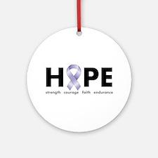 Lavender/Periwinkle Ribbon Hope Ornament (Round)