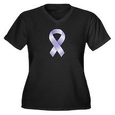 Lavender/Periwinkle Ribbon Women's Plus Size V-Nec