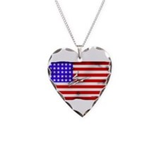 1864 US Flag Necklace Heart Charm