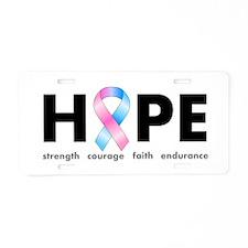 Pink & Blue Ribbon Hope Aluminum License Plate