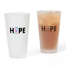 Pink & Blue Ribbon Hope Drinking Glass