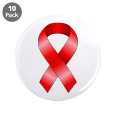 """Red Ribbon 3.5"""" Button (10 pack)"""