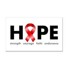 Red Ribbon Hope Rectangle Car Magnet