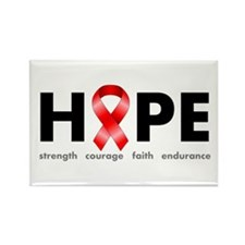 Red Ribbon Hope Rectangle Magnet