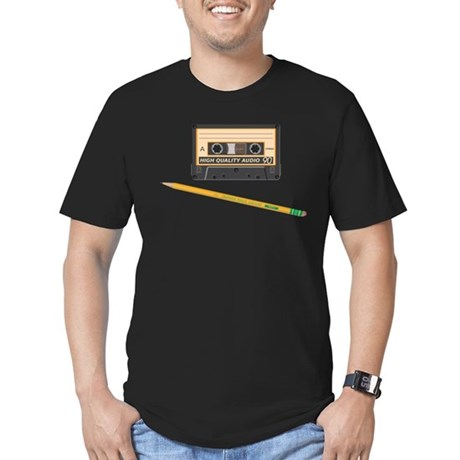 Cassette and Pencil Men's Fitted T-Shirt (dark)