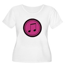 Cute Hot Pink and Black Music Notes T-Shirt