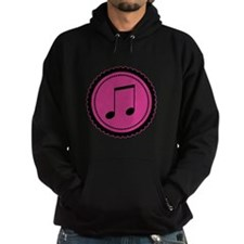 Cute Hot Pink and Black Music Notes Hoodie