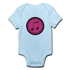 Cute Hot Pink and Black Music Notes Infant Bodysui