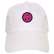 Cute Hot Pink and Black Music Notes Baseball Cap