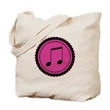 Cute Hot Pink and Black Music Notes Tote Bag