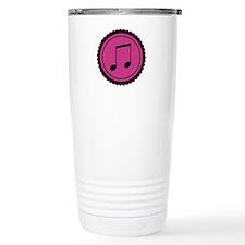 Cute Hot Pink and Black Music Notes Travel Mug
