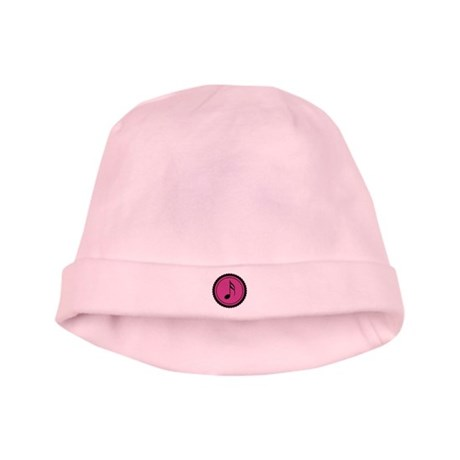 Cute Hot Pink and Black Music Notes baby hat