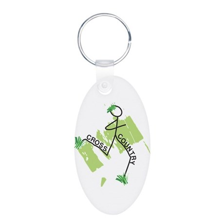 Cute Cross Country Runner Aluminum Oval Keychain