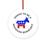 Michigan Democrat Pride Ornament (Round)