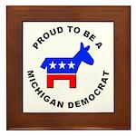 Michigan Democrat Pride Framed Tile